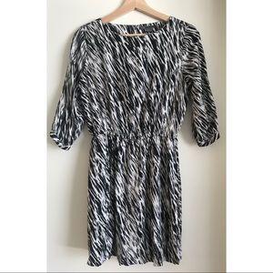 VINCE 3/4 Sleeve zebra print dress